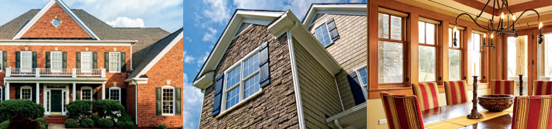 interior and exterior views of homes with new windows